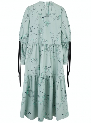 Young British Designers: Organic Cotton EIDOTHEA DRESS. Old Neptune Print. - Last one (XS) by Klements