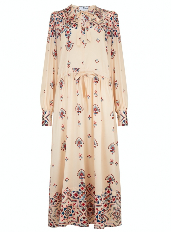 Young British Designers: Silk Satin ASTRID DRESS. Puzzle Print - Last one (S) by Klements