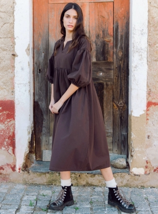 MEILANI Organic Cotton DRESS. Chocolate by Beaumont Organic