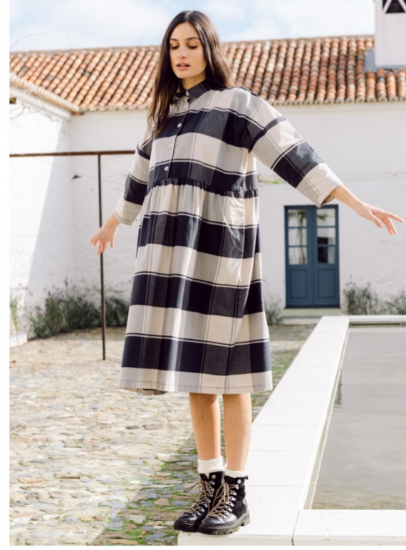 Young British Designers: MARGE-CAY OVERSIZED ORGANIC COTTON CHECK DRESS - Last one (L) by Beaumont Organic
