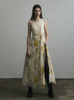 TWISTED SLEEVELESS DRESS with Flowers by WEN PAN