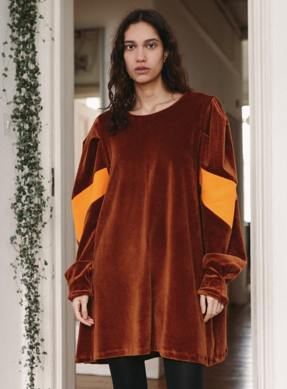Young British Designers: Oversized Copper Organic Cotton Velour JACQUES DRESS by RIYKA