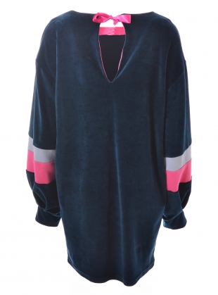 Young British Designers: Navy Blue Organic Cotton Velour RAE DRESS by RIYKA
