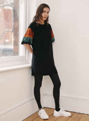 Black Organic Cotton Velour JEAN DRESS by RIYKA