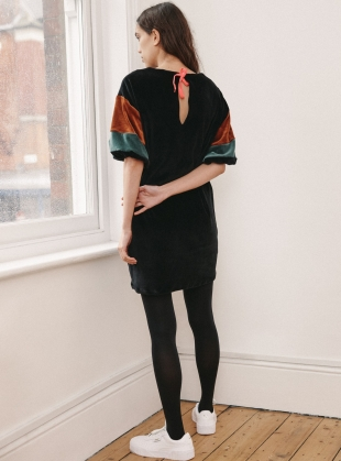 Young British Designers: Black Organic Cotton Velour JEAN DRESS by RIYKA