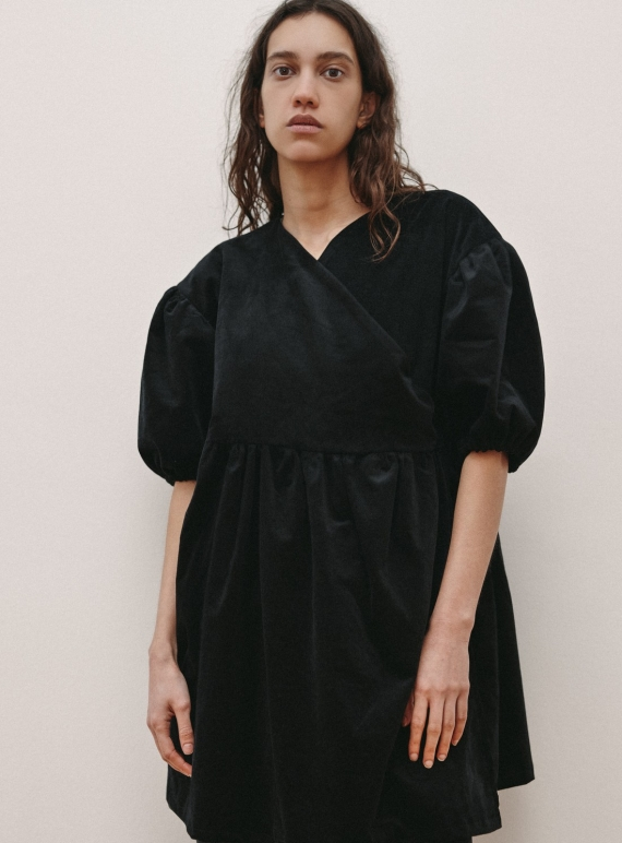 Young British Designers: Black Organic Cotton Cord BABETTE DRESS by RIYKA