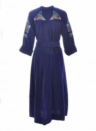 Young British Designers: Navy Embroidered PORT ELLIOT DRESS by Tallulah & Hope
