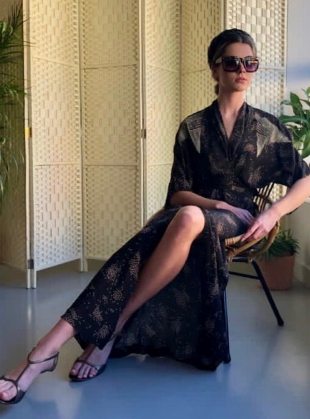 GLORIA KIMONO WRAP DRESS. Black Sky Print by Tallulah & Hope