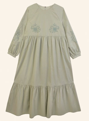 Young British Designers: ACACIA DRESS. Sage Green by Meadows