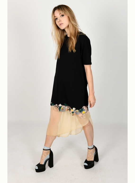 Young British Designers: TAYLOR Black Embellished T-Shirt Dress by Sophie Pittom