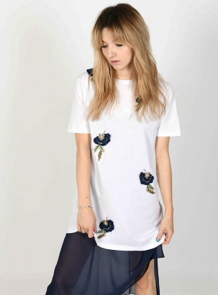 Young British Designers: TAYLOR White Embellished T-Shirt Dress by Sophie Pittom