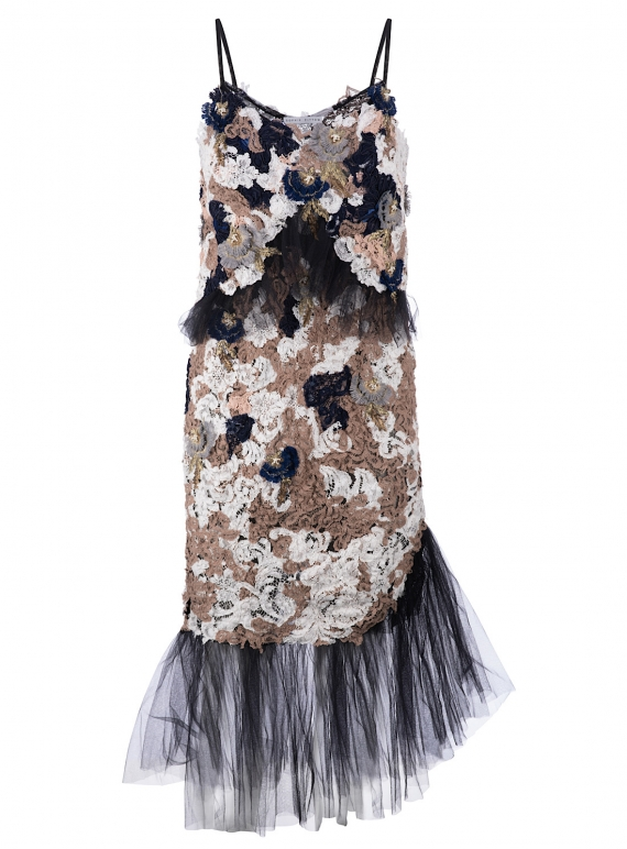 Young British Designers: SAMANTHA Hand-Embellished Lace Ruffle Slip Dress by Sophie Pittom