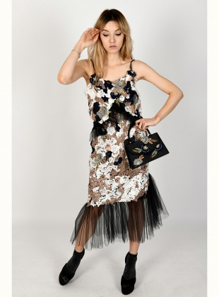 SAMANTHA Hand-Embellished Lace Ruffle Slip Dress by Sophie Pittom