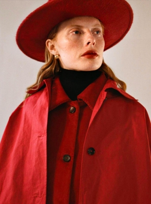 Young British Designers: FARO OVERSIZED DRY OILSKIN MAC. Deep Red by Cawley
