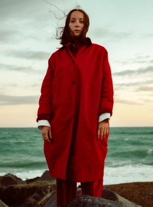 FARO OVERSIZED DRY OILSKIN MAC. Deep Red by Cawley