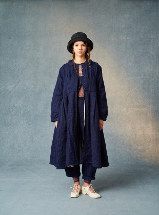FRANKIE INDIGO COTTON/LINEN/SILK COAT by Renli Su