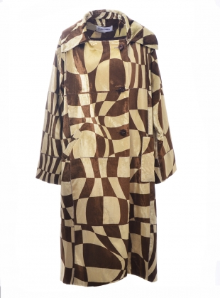 Young British Designers: OVERSIZED PRINTED VELVET TRENCH. Sepia  by Fiona ONeill