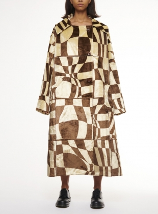 OVERSIZED PRINTED VELVET TRENCH. Sepia  by Fiona O'Neill