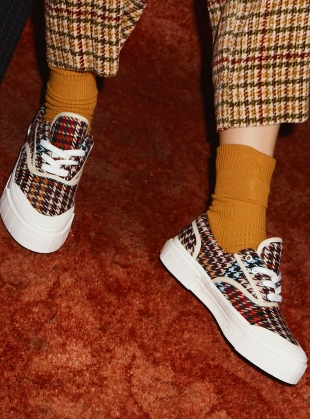 Young British Designers: OPAL ITALIAN CHECK. BROWN/ORANGE by Good News