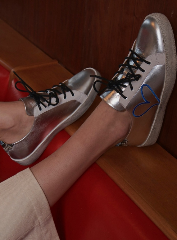 Young British Designers: LOVE BUG. Silver Leather Trainer - last pair (36) by Rogue Matilda