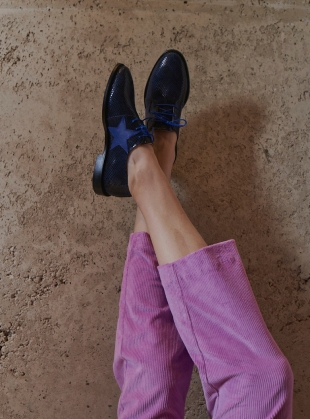 Young British Designers: STARSTRUCK Navy Snakeskin Brogues by Rogue Matilda