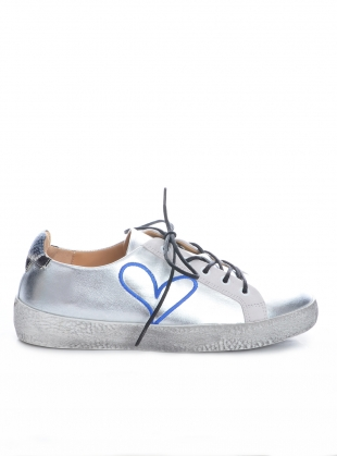 LOVE BUG. Silver Leather Trainer by Rogue Matilda
