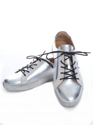 Young British Designers: LOVE BUG. Silver Leather Trainer by Rogue Matilda