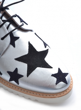 Young British Designers: INTERGALACTIC Silver & Stars Brogue by Rogue Matilda