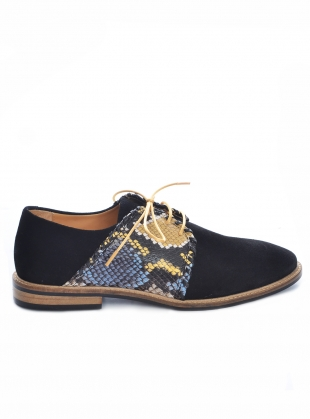 TOP STITCH Black Suede Brogues by Rogue Matilda