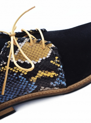 Young British Designers: TOP STITCH Black Suede Brogues by Rogue Matilda