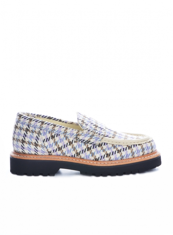Young British Designers: BEAM CHECK LOAFERS. BEIGE / PURPLE by Good News