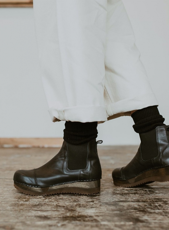 Young British Designers: Onyx Leather Low Vandra Boot by Kitty Clogs Sweden