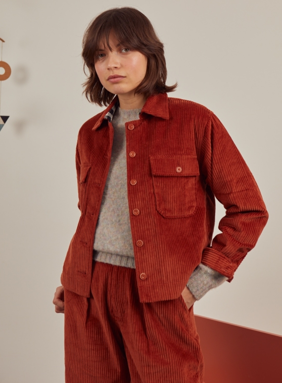 Young British Designers: HAP SHIRT JACKET. Rust by SIDELINE