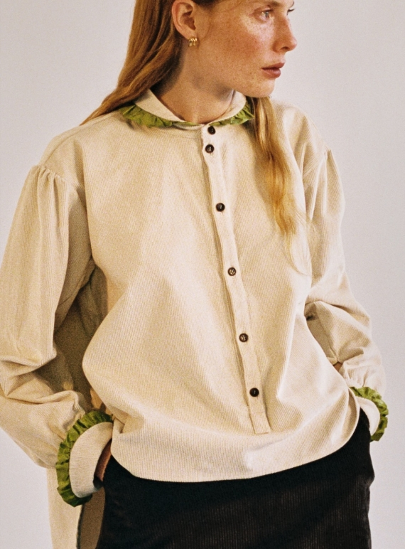 Young British Designers: LYDBROOK SHIRT in Ecru & Lime - Last one (XXS) by Cawley