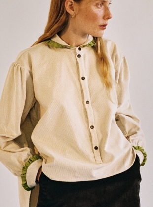 LYDBROOK SHIRT in Ecru & Lime by Cawley