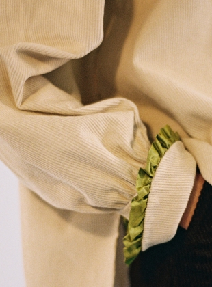 Young British Designers: LYDBROOK SHIRT in Ecru & Lime by Cawley