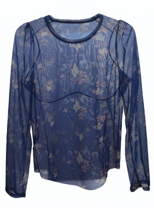 IZZY GAUZY BLUE FLORAL TOP by Renli Su