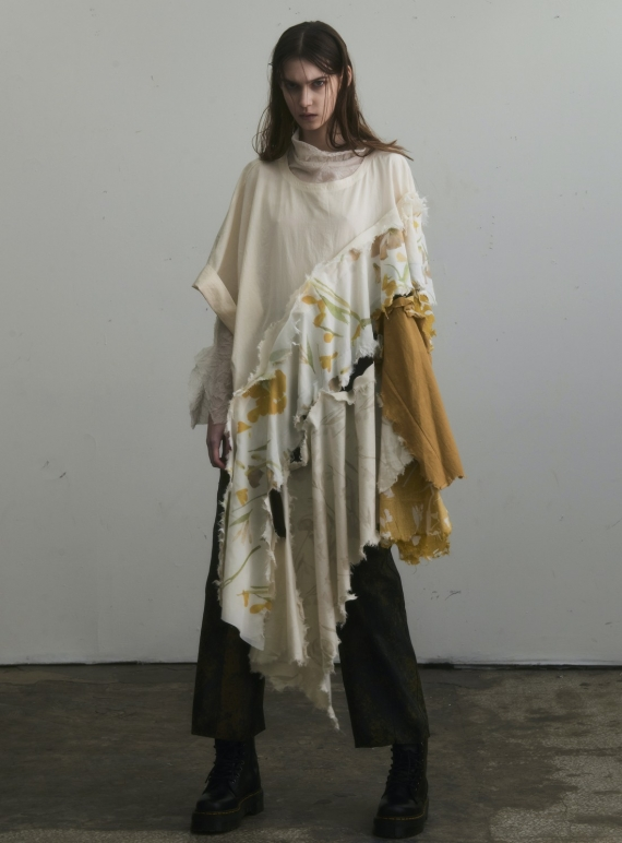 Young British Designers: OVERSIZED ASYMMETRIC T-SHIRT. Yellow Floral. by WEN PAN