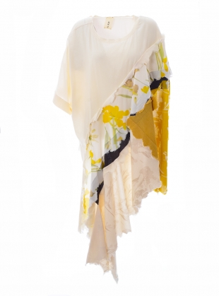 OVERSIZED ASYMMETRIC T-SHIRT. Yellow Floral. by WEN PAN