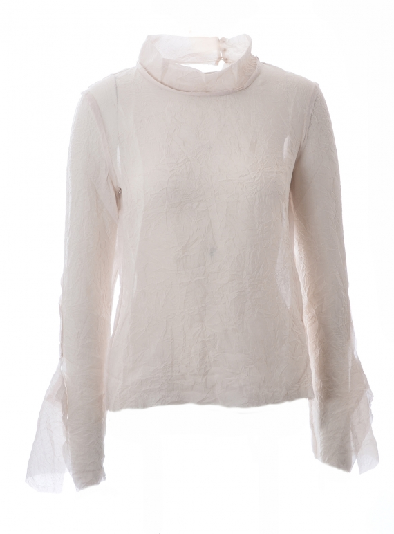 Young British Designers: CRINKLED SILK LONG SLEEVE TOP. Whisper Grey - Last one (XS) by WEN PAN