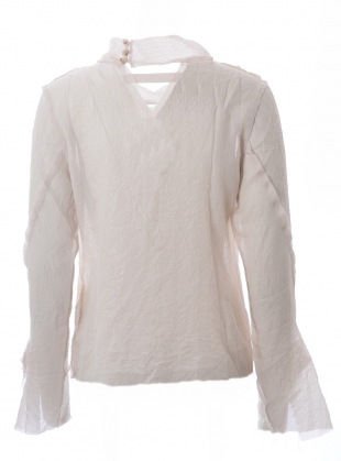 Young British Designers: CRINKLED SILK LONG SLEEVE TOP. Whisper Grey by WEN PAN