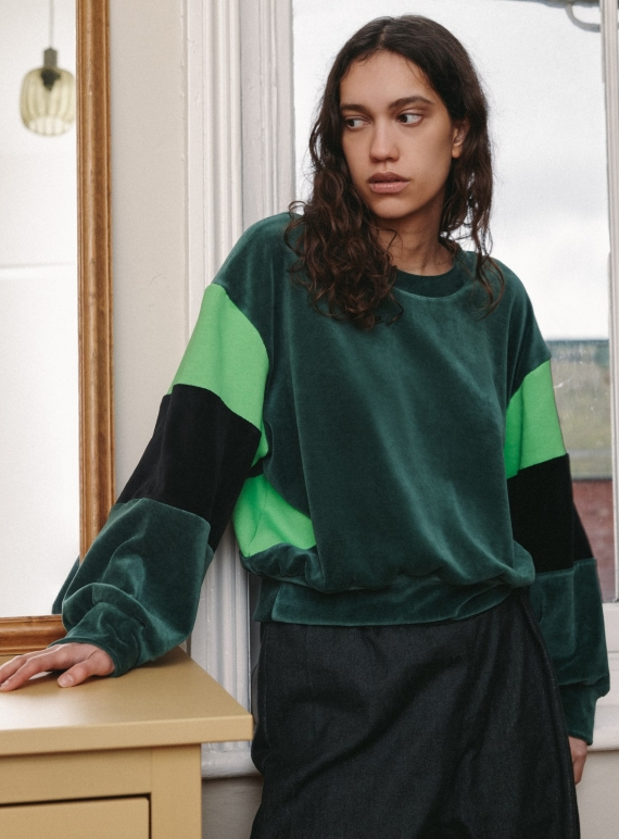 Young British Designers: Forest Organic Cotton Velour ALBA SWEAT  by RIYKA