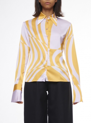 Young British Designers: STRETCH SATIN PRINTED Shirt. Carousel & Solero by Fiona ONeill