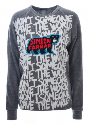 Grey SWEATSHIRT. Save The World by Simeon Farrar