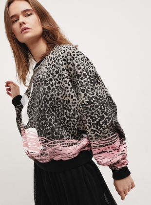 DOLMAN SLEEVE SWEAT. Leopard Scribble Bambi by Simeon Farrar