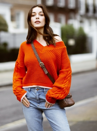 EMMA V NECK JUMPER. Burnt Orange  by Cara & The Sky