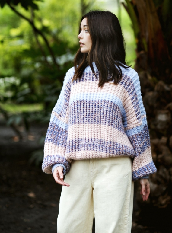 Young British Designers: LOUISE STRIPE JUMPER. Pale Blue  by Cara & The Sky
