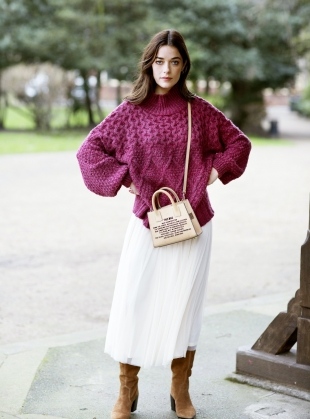 BELLA HIGH NECK JUMPER. Berry by Cara & The Sky