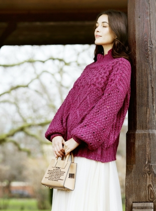 Young British Designers: BELLA HIGH NECK JUMPER. Berry - last one (s) by Cara & The Sky