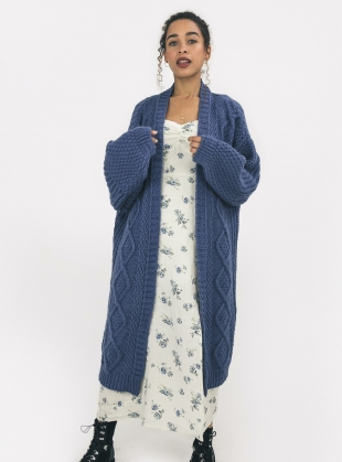 STEVIE MAXI CARDIGAN. Denim Blue by Cara & The Sky